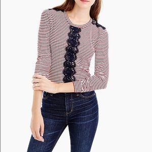 J. Crew | EUC Ivory Crimson Lace Striped Tee